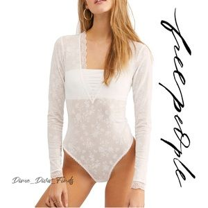 Free People Babes In Bandeaus White Lace Bodysuit